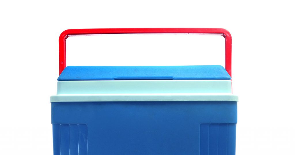 a blue cooler with a red handle on a white background