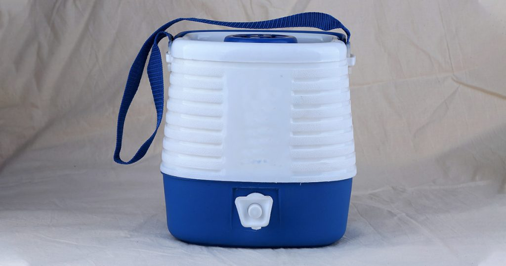 water cooler white and blue for traveller