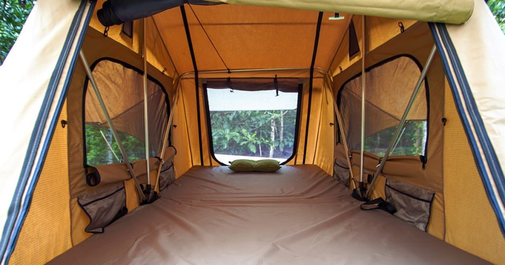 Interior of roof-top tent with a view