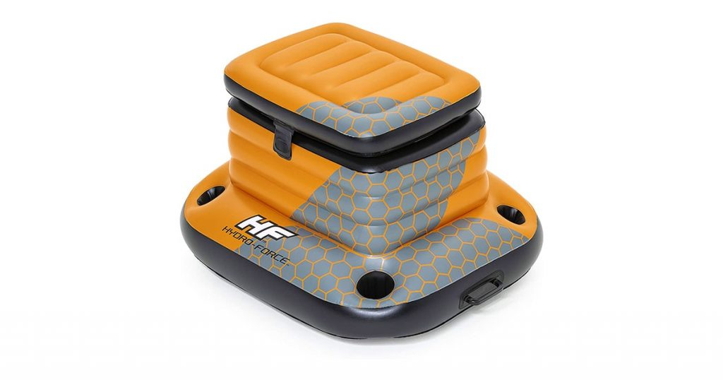 Bestway H2OGO! Glacial Sport Inflatable Cooler w/ Attached Lid   4 Built-in Cup Holders   Great Pool Accessory