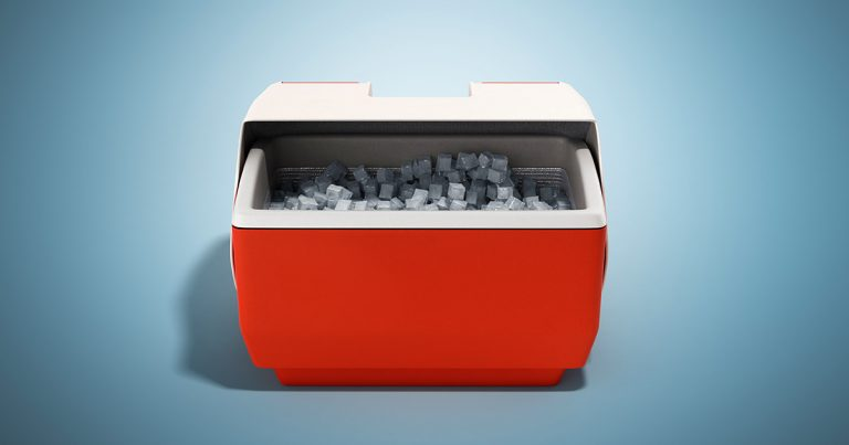 closed refrigerator box red 3d render on blue background