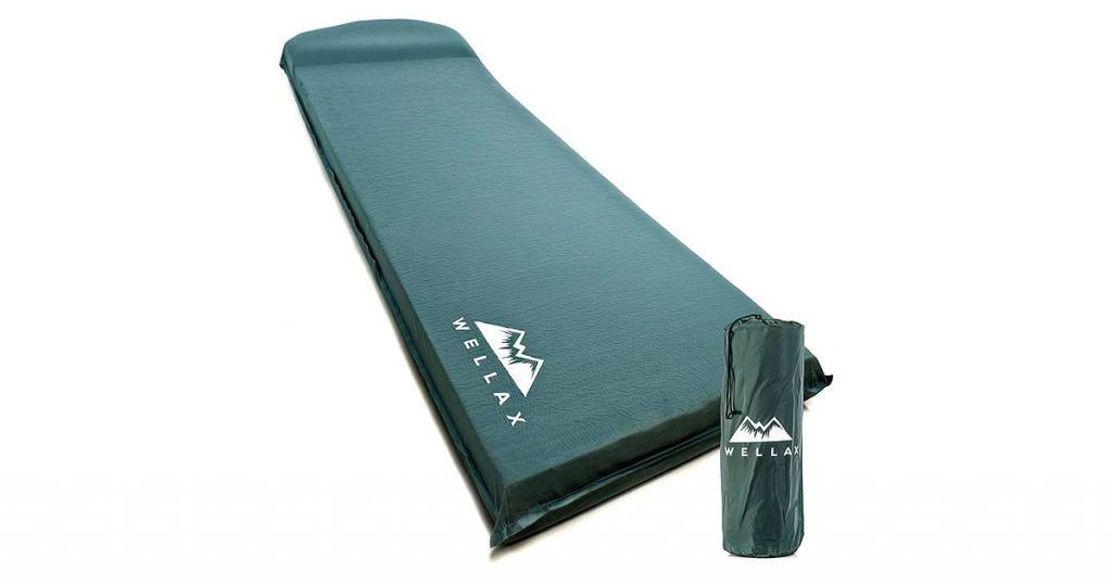 WELLAX UltraThick FlexFoam Sleeping Pad - Self-Inflating 3 Inches Camping Mat for Backpacking, Traveling and Hiking