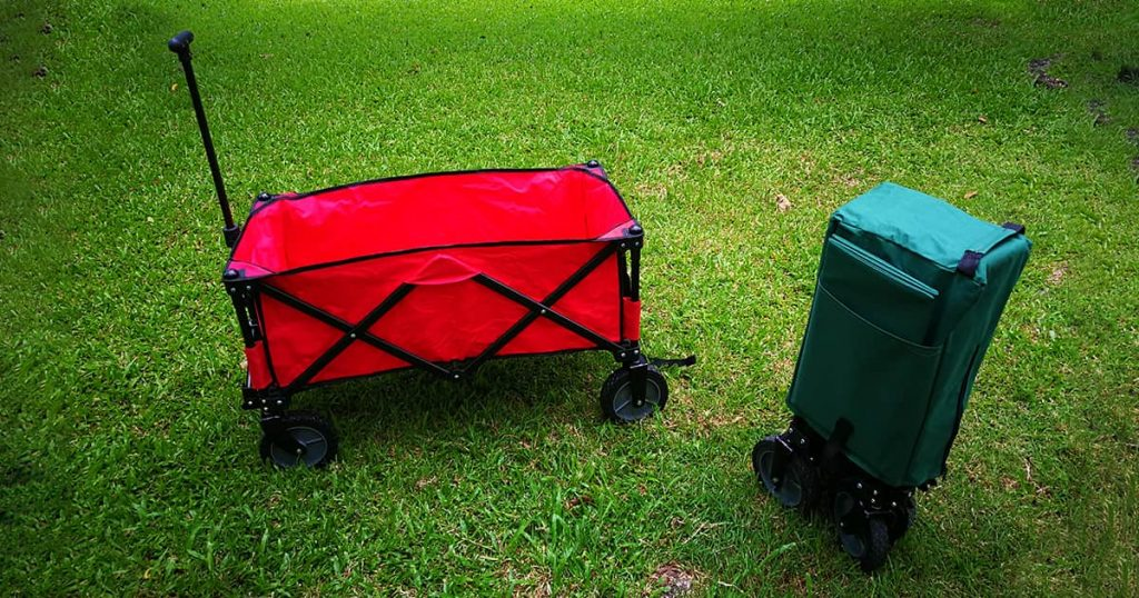 a green and red Cart for using in camping life travel