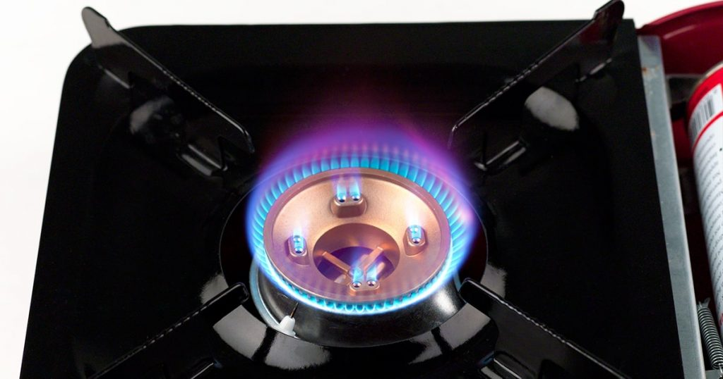 Gas stove for camping or hiking isolated on white
