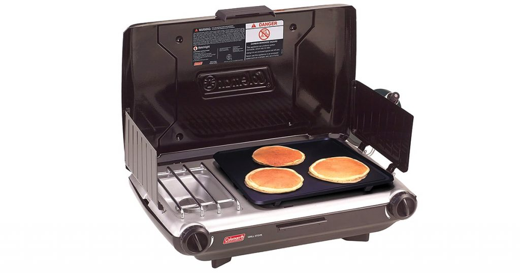 Coleman Gas Camping Grill/Stove | Tabletop Propane 2 in 1 Grill/Stove, 2 Burner