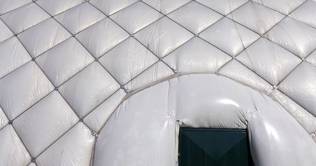 detail of a air inflated tent on a sunny day