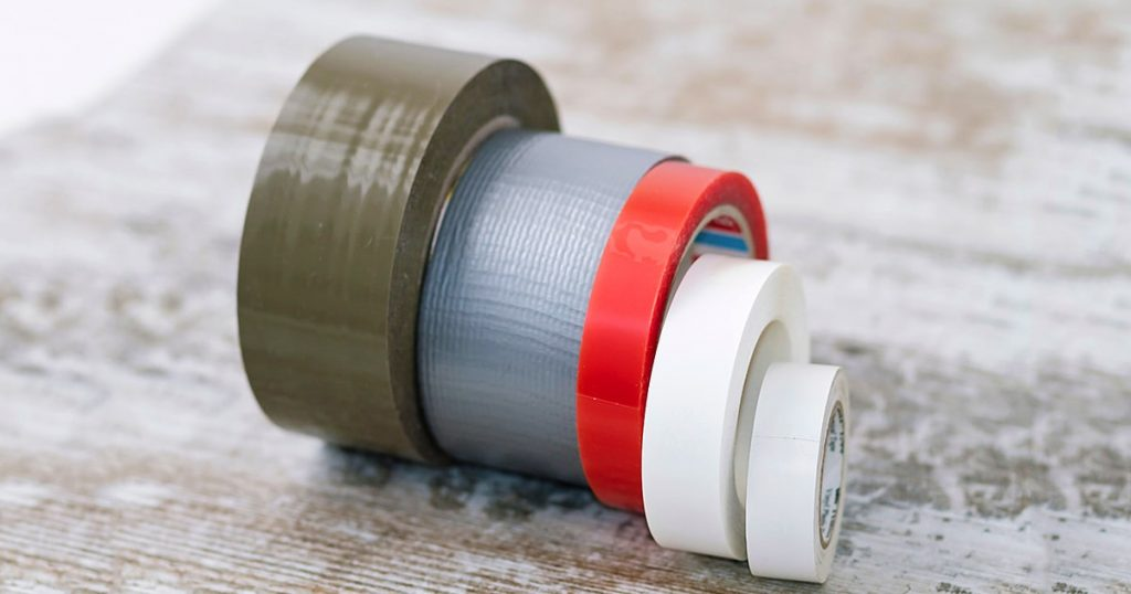 Rolls of adhesive tape of different types