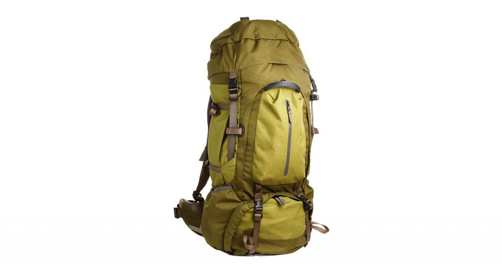 Large camping backpack isolated on white background