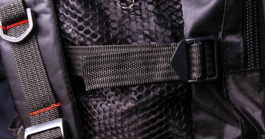 closeup of a pockets in the black backpack