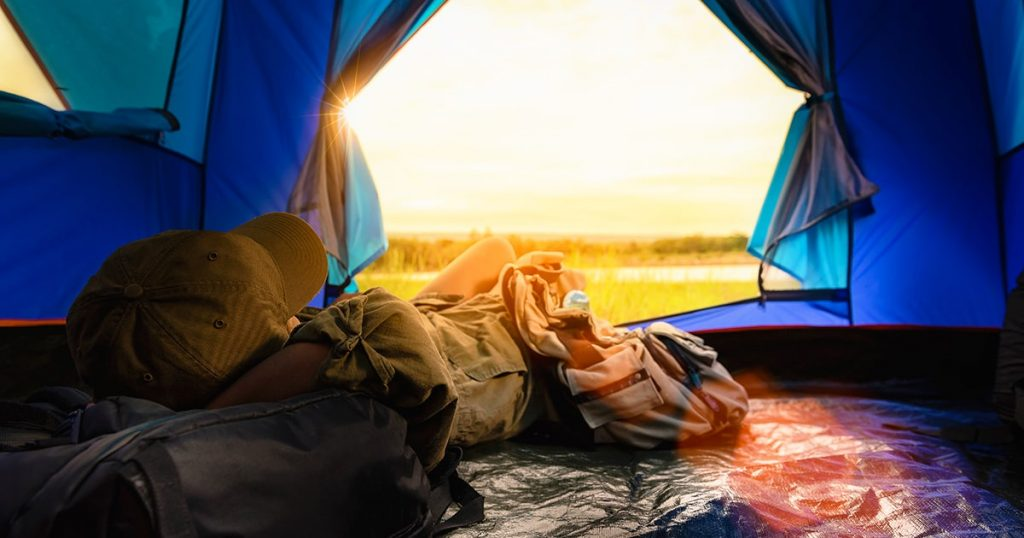 Camping with Sunset in base camp