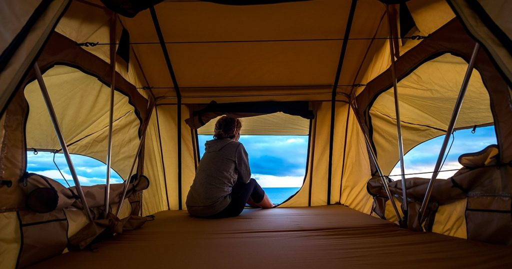 the nature outdoor in a roof tent on the car