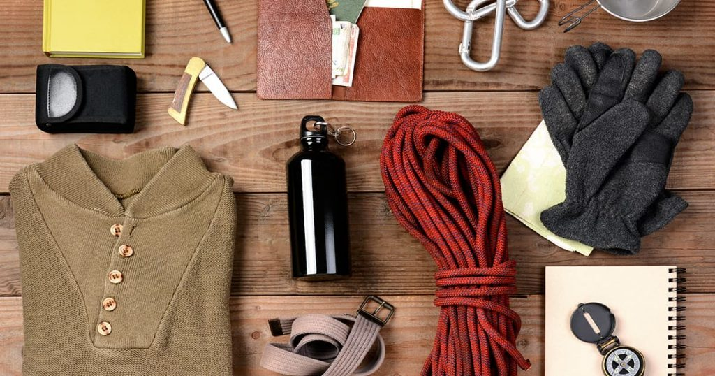 overhead-view-hiking-gear-laid-out