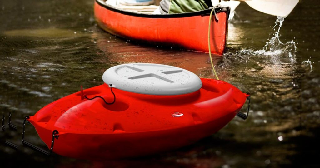 Floating Cooler attached to kayak