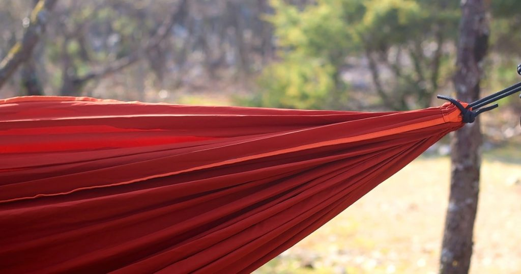 Hammock hanging in a forest